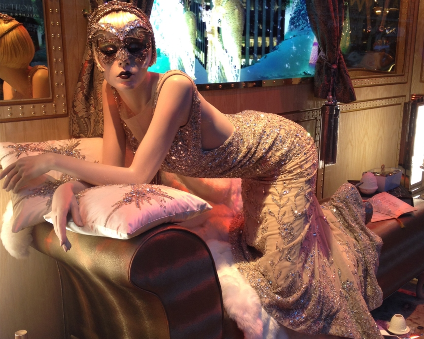 Harrods Windows Mystery Lady in First Class