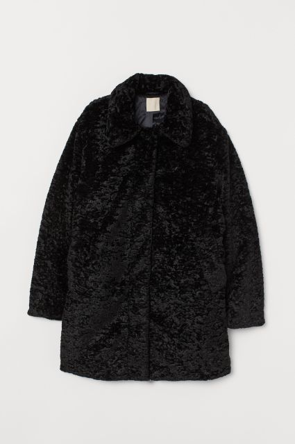 hm faux fur coat black
