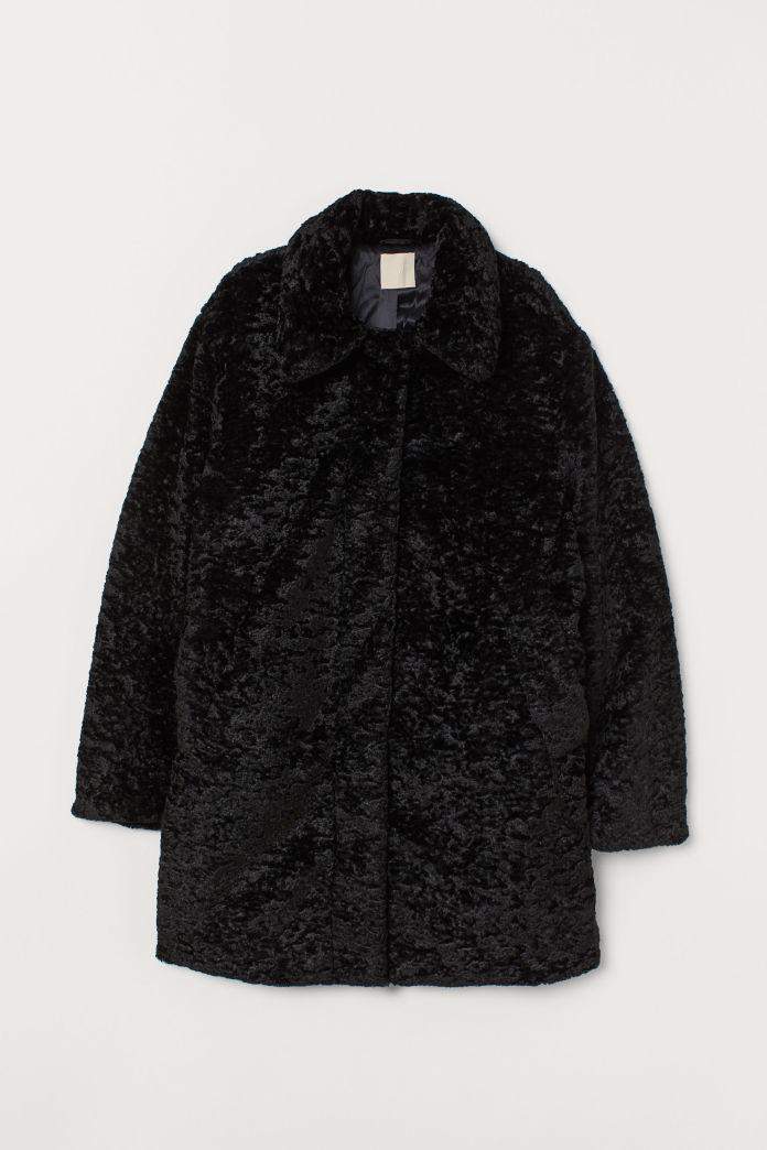 hm faux fur coat black